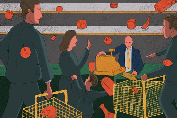 A drawing of a man in a suit at a grocery store.