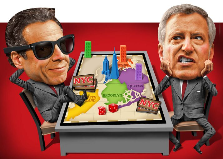 An illustration of Gov. Andrew Cuomo and Mayor Bill de Blasio.