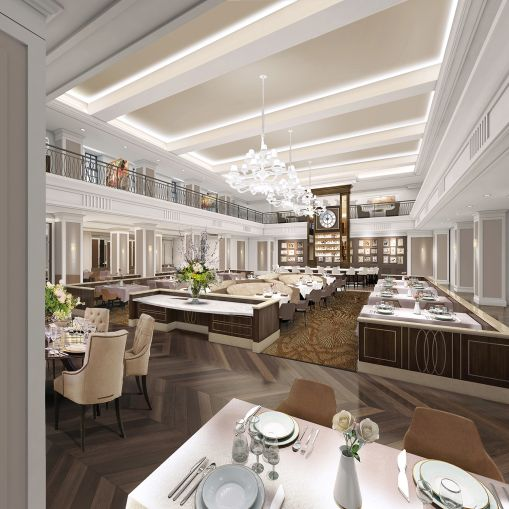 A rendering of the first-floor dining room.