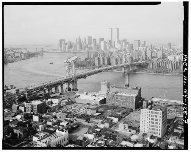 An aerial view of 1970s Williamsburg.