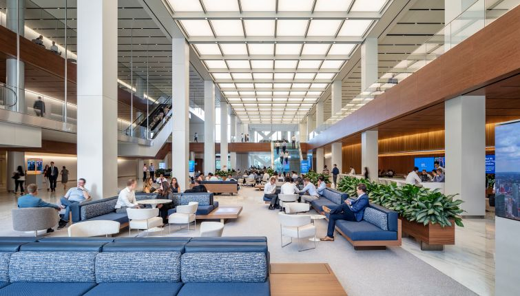 "Citigroup's new lobby includes a ""town square"" with seating and a Starbucks, all designed by SOM and Gensler."