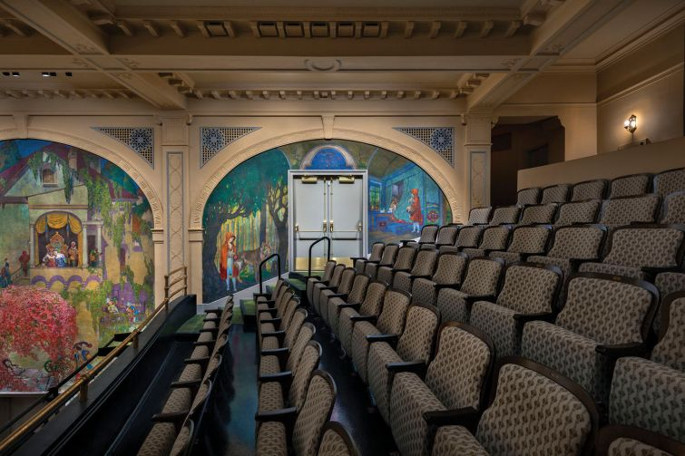 Murals in the theater depict fairy tales like Little Red Riding Hood, Cinderella and Jack and the Beanstalk.