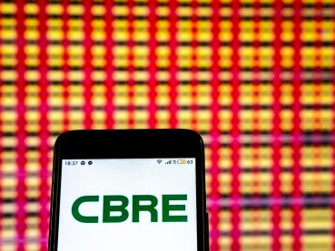 CBRE Logo on a cellphon
