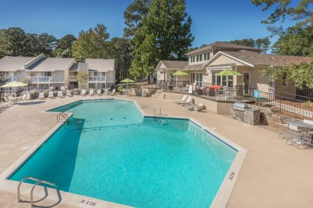 A shot of the pool area at the Hawthorne Six Forks rental complex in Raleigh, N.C.