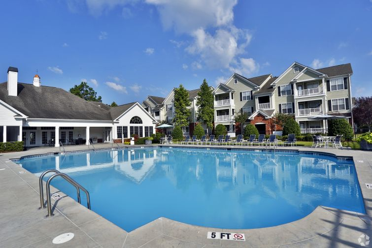 A shot of the pool area at Bryant at Summerville.