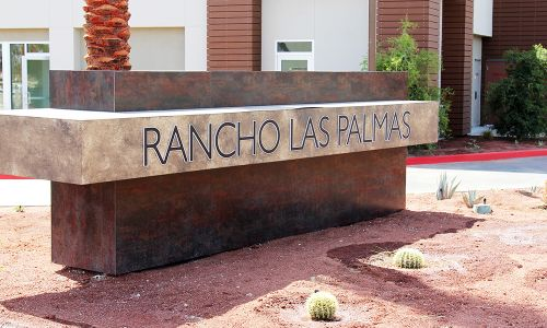Signage for the Rancho Las Palmas Shopping Center.