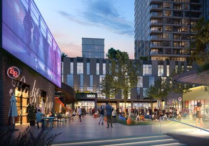 A rendering of District NoHo in North Hollywood, which will include 1,500 apartment units, 500,000 square feet of office, and 100,000 square feet of retail space.