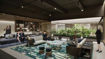 Rendering of the amenity space at 1345 Avenue of the Americas.