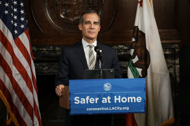 In a video press conference, Mayor Eric Garcetti addresses the latest coronavirus responses and updates