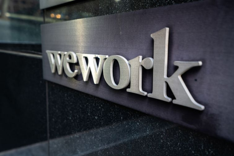 A view of WeWork logo
