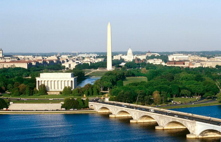 Washington DC aerial, Washington, D,C, North America.