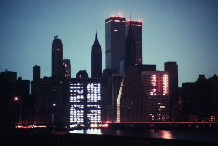 Skyline view of New York City during the 1977 blackout.