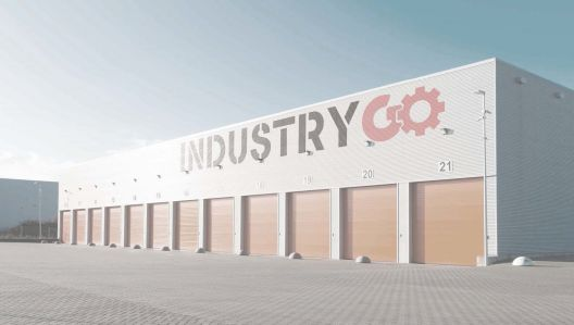 A rendering of what the warehouses will look like following their repositioning to INDUSTRY GO studios.