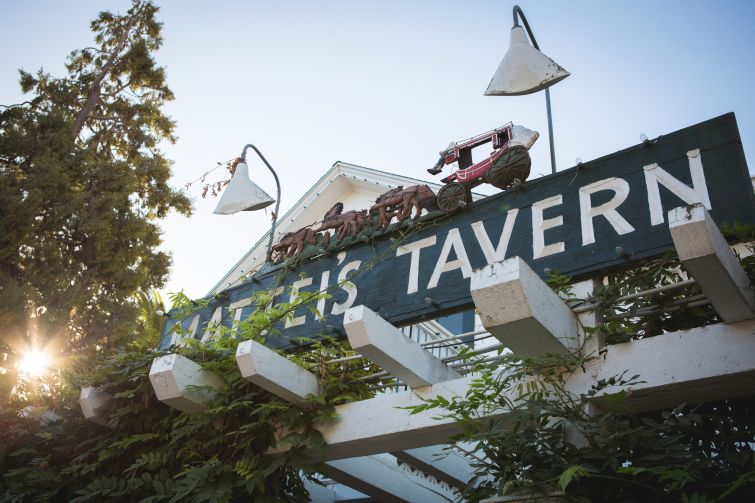 Signage at the front of the original Mattei's Tavern in Los Olivos, Calif.