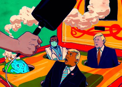 An illustration of a whack-a-mole game featuring Donald Trump, Boris Johnson, a globe on fire, and a doctor.