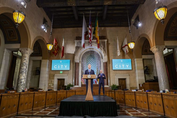 Mayor Eric Garcetti gives his State of the City speech at Los Angeles City Hall.