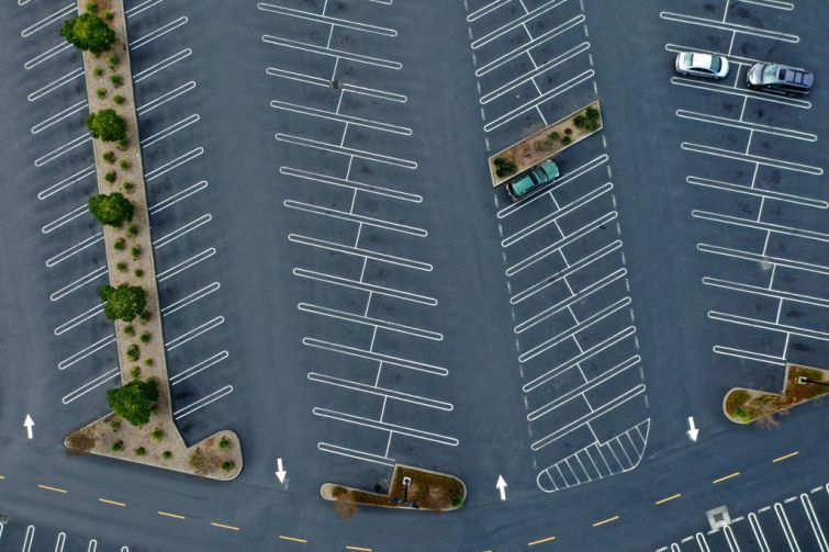 Empty mall parking lot.