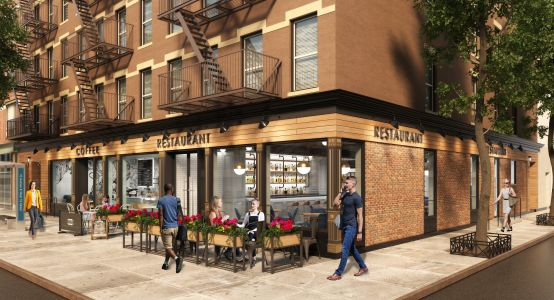 A rendering of 146-150 10th Avenue's retail frontage.