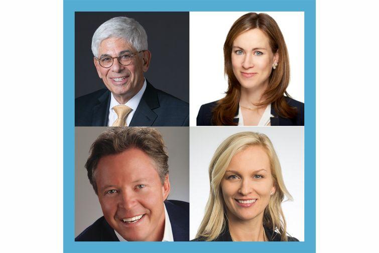 Clockwise from top left: moderator Jay Neveloff, Julia Butler, Abbe Franchot-Borok and Warren de Haan.