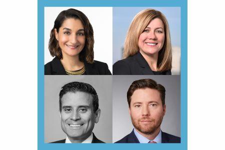 Clockwise from top left: Moderator Megan Vallerie, Melissa Farrell, Christopher Niederpruem and Jason Hernandez.