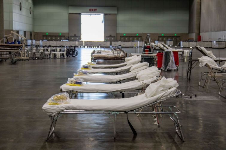 Beds set up at the field hospital at the Los Angeles Convention Center.