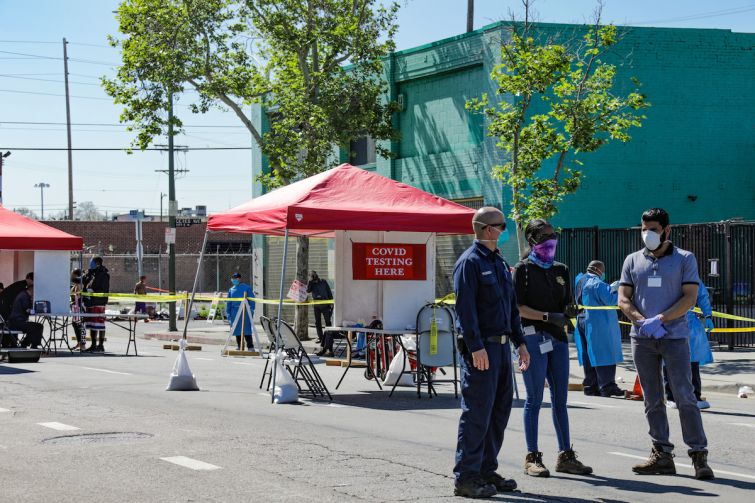 A coronavirus testing site is open in Skid Row in Downtown Los Angeles. Governor Gavin Newsom announced on Monday that current data indicates that some parts of the state can move into the early part of the second stage of the reopening process this week.