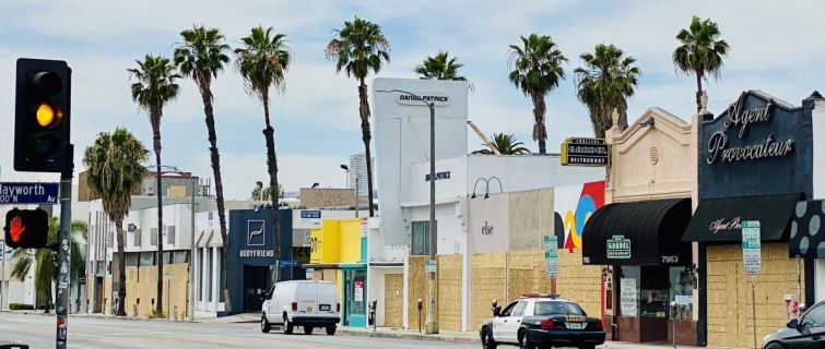 Dozens of stores along Melrose Avenue have been boarded up.