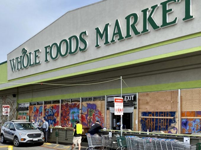 The Whole Foods on Third, across from the Original Farmers Market and The Grove, was looted over the weekend.