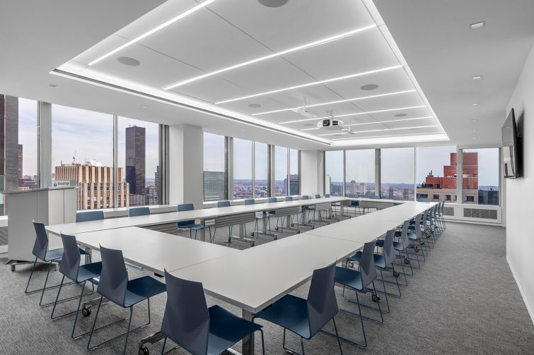 Large conference rooms can be divided with movable walls for smaller meetings and opened up for all-hands gatherings.