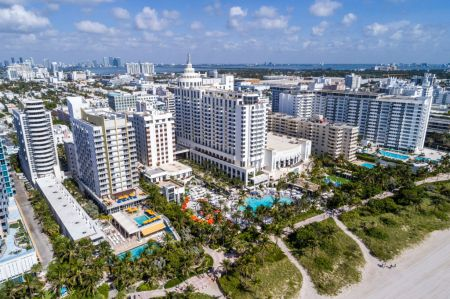 An aerial view of Miami Beach including the Loews Hotel.
