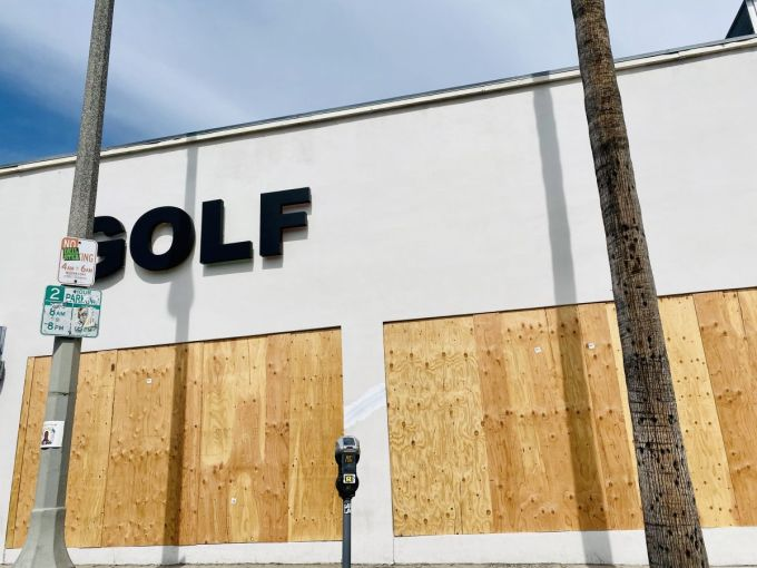 GOLF, the apparel store by award-winning hip-hop artist Tyler the Creator, is boarded up on Fairfax Avenue.