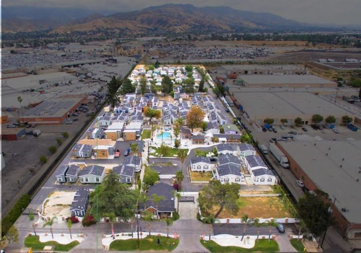 An aerial image of Hollywood Backlot Homes in North Hollywood, Calif.