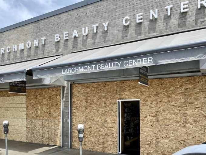Larchmont Beauty Center is Boarded up on June 2.