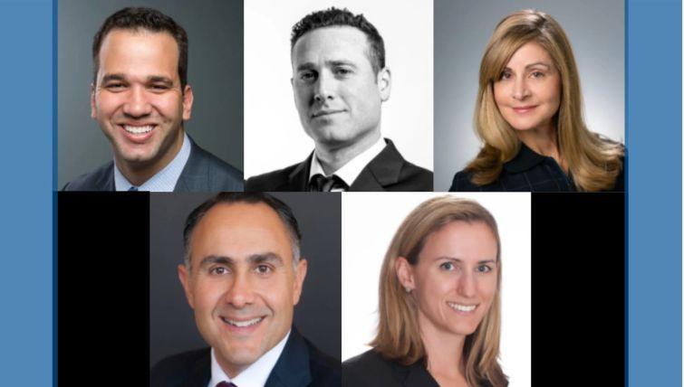 Clockwise from top left: Bill Fishel, Brett Katz, Vicky Schiff, Robin Potts and Paul Rahimian.