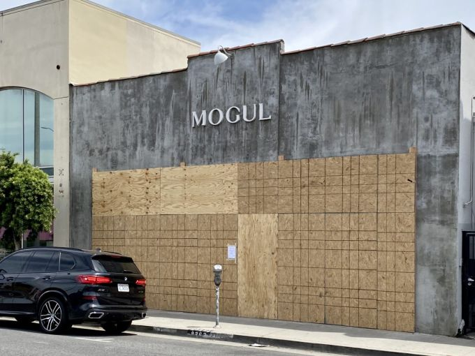 Mogul Los Angeles at 8262 Melrose Avenue has been boarded up.