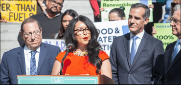 "L.A. City Council President Nury Martinez, center, said her ""concern remains that we need substantially more assistance from the White House and our federal government if we are going to meet the housing needs of Angelenos and people throughout the nation."""