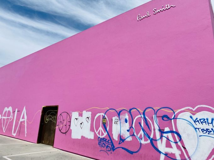 The Paul Smith clothing store at 8221 Melrose Avenue typically attracts a line of people who take selfies in front of the pink wall.
