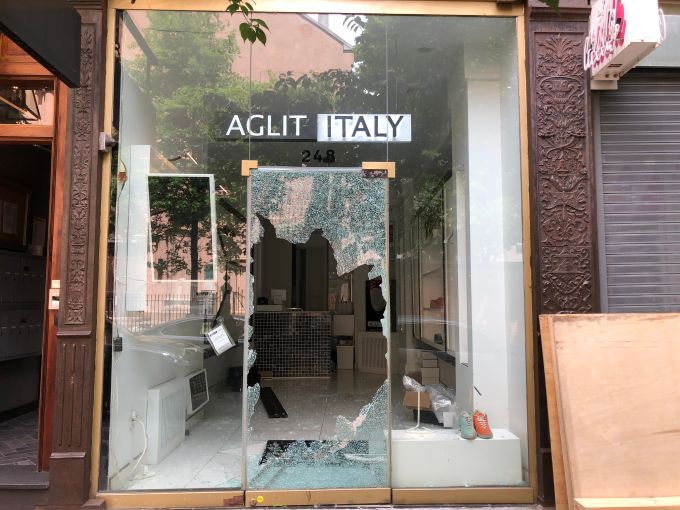 A small high-end shoe store on Mott Street in Soho was looted in the wake of the May 31 George Floyd protests
