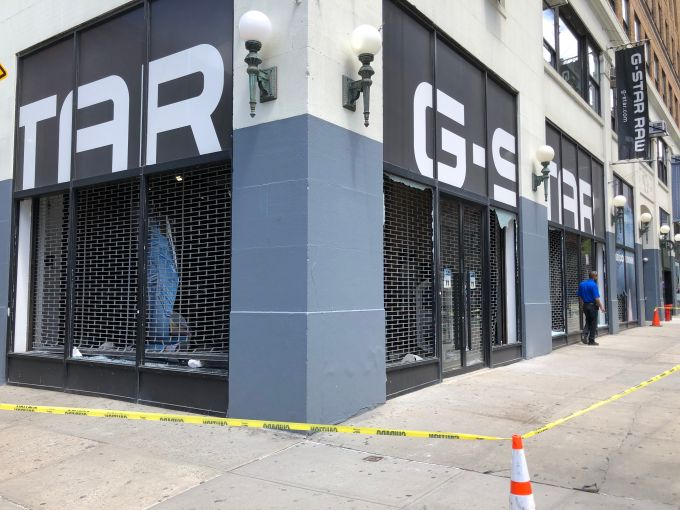 A looted G-Star Jeans on Lafayette Street in Soho.