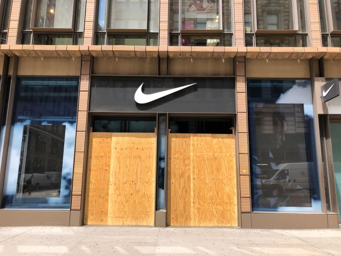 The Nike store on Broadway in Soho was apparently untouched, thanks to hired security.