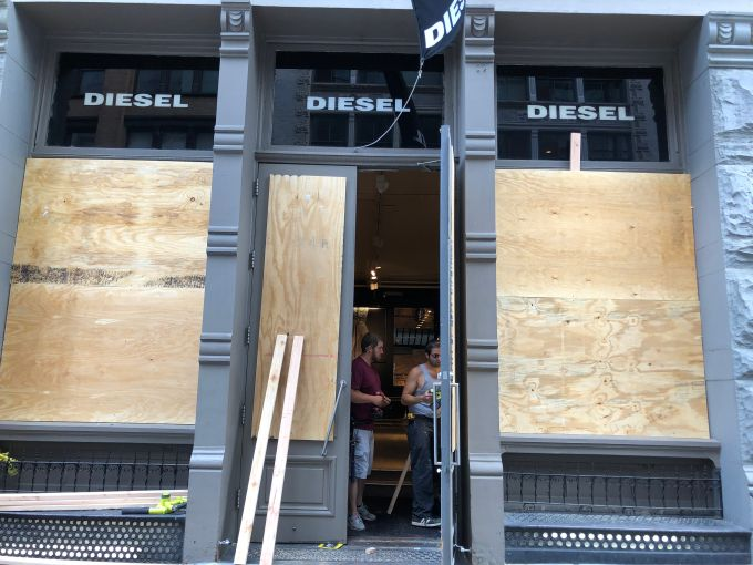 The Diesel store in Soho was also evidently looted, and police were inside surveying the scene on the afternoon of June 1 after the George Floyd protests.
