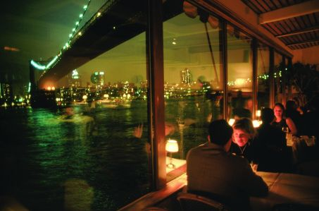 View of Brooklyn Bridge from the River Cafe.