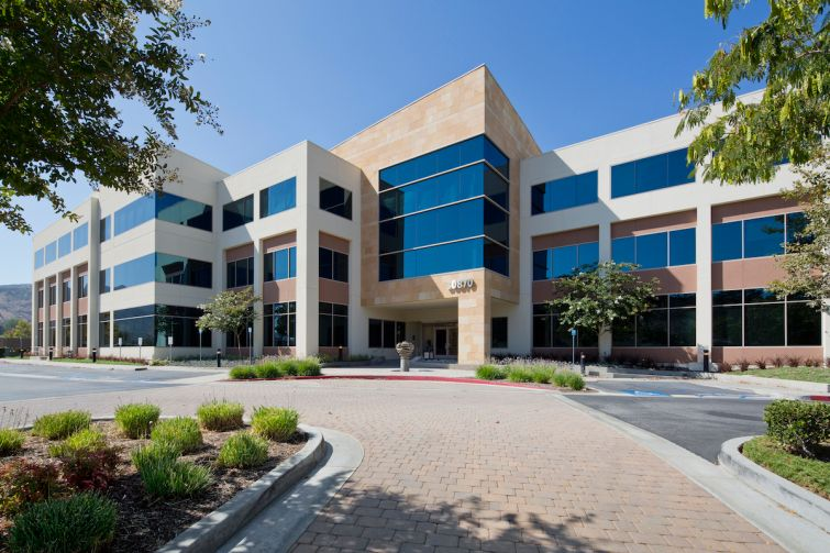 The Class A office building is just off the 101 Freeway near Lindero Canyon Road.
