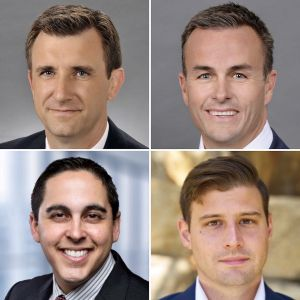 Clockwise from top left, Josh Wrobel and Charlie Smith of JLL, Ben Bucci of LPC West, and Jose Carrazana with Institutional Property Advisors.