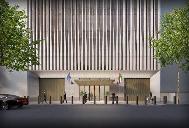 The United Arab Emirates' new permanent mission to the UN features a facade inspired by Art Deco New York City landmarks, with a subtle frieze of palm leaves above the entrance.
