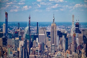 An aerial view of Manhattan. Lev is based in Soho.