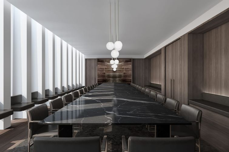 There are a range of meeting rooms in the building, including formal boardrooms with dramatic black Tunisian marble tables.