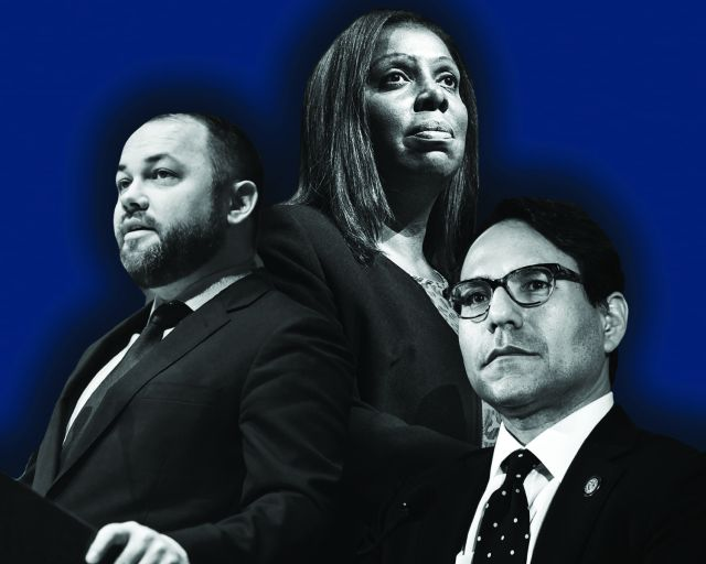 Corey Johnson, Letitia James and Richard Mujica.