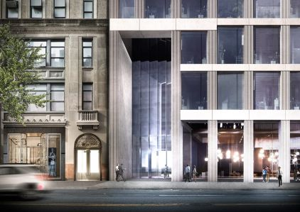 A rendering of the under-construction office tower at 1245 Broadway, which will rise 22 stories.