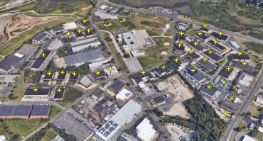 An aerial view of the Twinbridge and Twinbridge West parks and their 32 buildings.